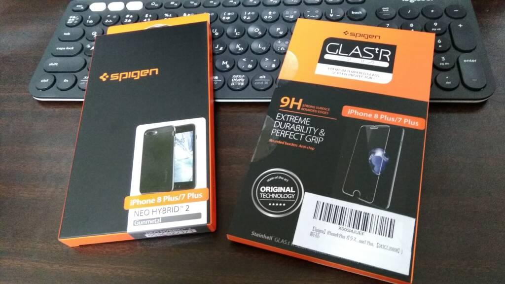 Spigen iPhone8 Plus ケース ガラスフィルム